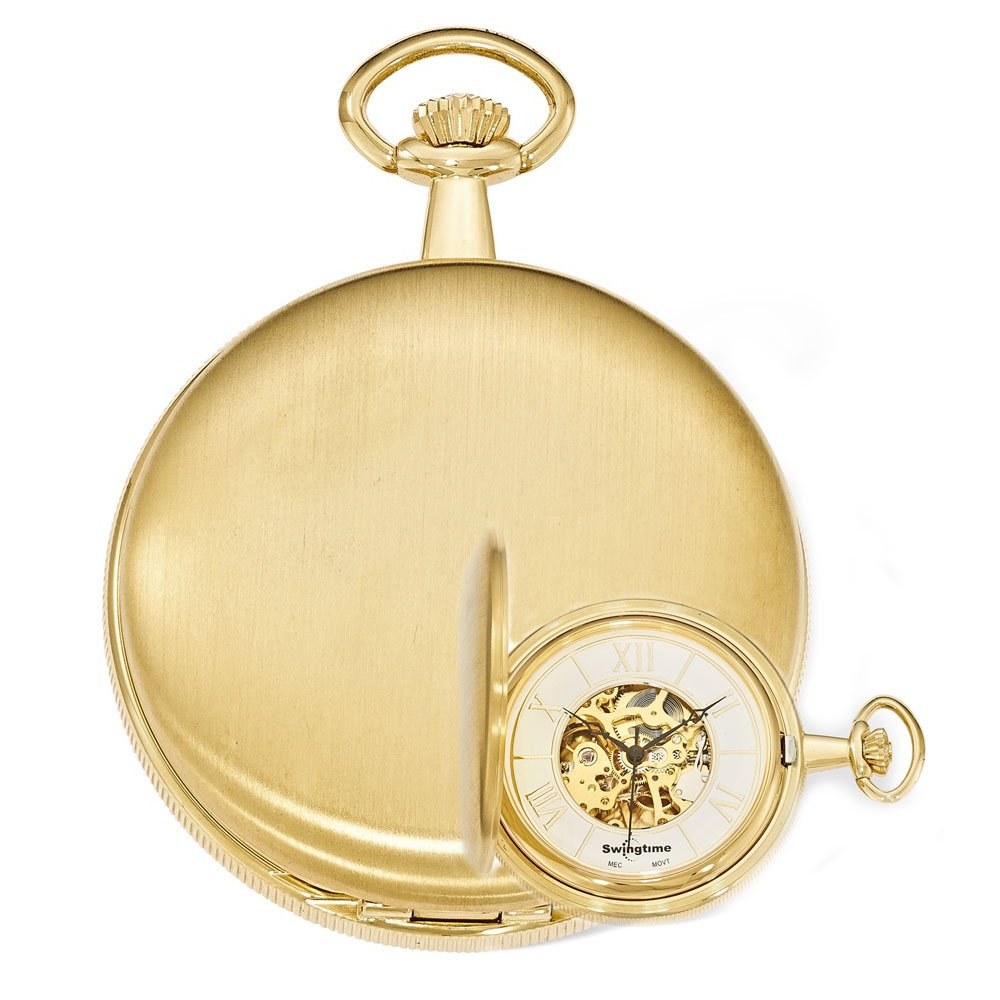 Swingtime Engravable Goldtone Brass Mechanical Pocket Watch