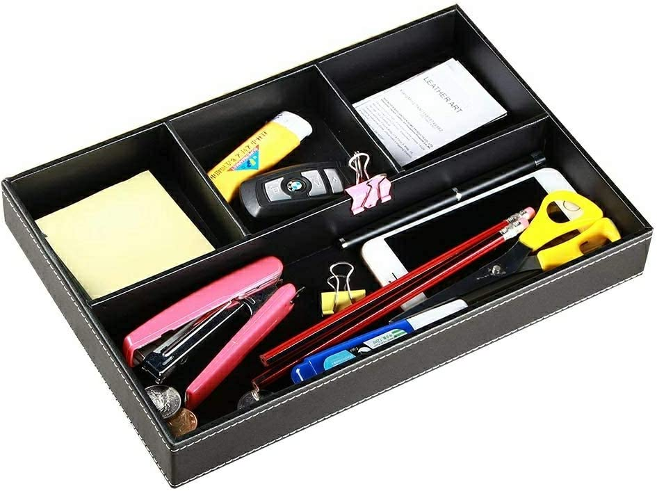 YAPISHI Valet Tray Men Nightstand Organizer 4 Compartments PU Leather Office Table Stationery Storage Box for Key Phone Coin Wallet Jewelry Glasses Cosmetics Business Card Pen Watch Note Paper Black