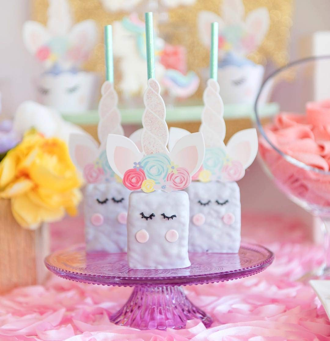 xo, Fetti Unicorn Cupcake Toppers + Wrappers - Set of 24 | Birthday Party Supplies, Unicorn Horn Cake Decoration + Baby… 5