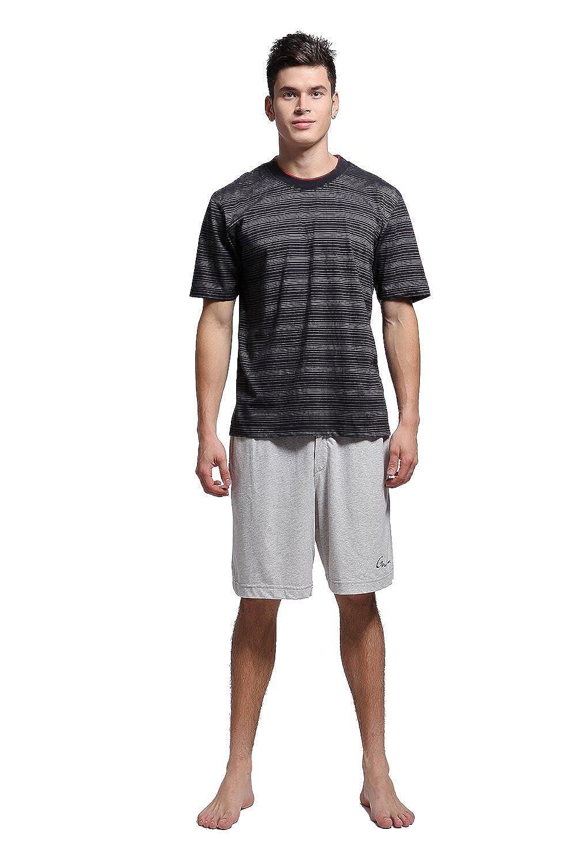 Godsen Men's Sleepwear Striped Short Sleeve Pajama Set Shorts 7090-G1102