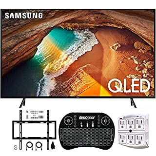 """Samsung QN65Q60RA 65"""" Q60 QLED Smart 4K UHD TV with 1 Year Warranty (2019 Model)(Renewed) Flat Wall Mount Bundle with Deco Gear 2.4GHz Wireless Keyboard Smart Remote and 6-Outlet Surge Protector"""