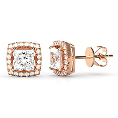 ... buying now f5c3a 44abd 925 Rose Gold Plated Sterling Silver Princess  Cut CZ Cubic Zirconia Halo ... c45a2386c8b2
