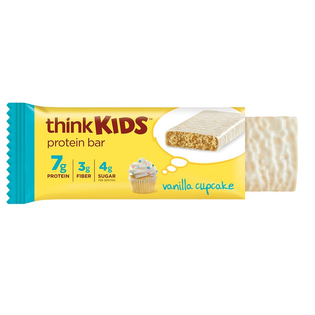 thinkKIDS Protein Bars - Vanilla Cupcake 7g Protein, 3g Fiber, 4g Sugar, No Artificial Flavors or Colors, Gluten Free, GMO