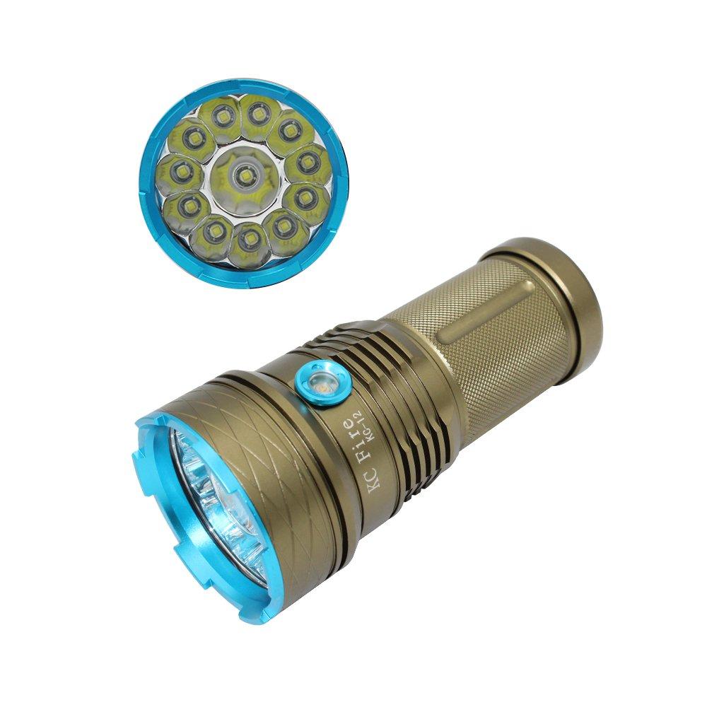 LED Taschenlampe Taschenlampe 10000Lumen, KC Fire 12x CREE XM-L T6LED 3Modi Super Bright Wasserdicht Camping Notfall Searchlight Spot