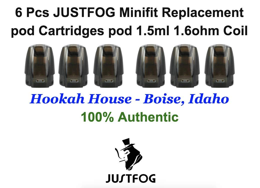 justfog minifit pods 6 Pcs JUSTFOG Minifit pod Cartridges 1.5ml 1.6 Ω Coil (6 Pcs / 2 Packs)- Hookah House