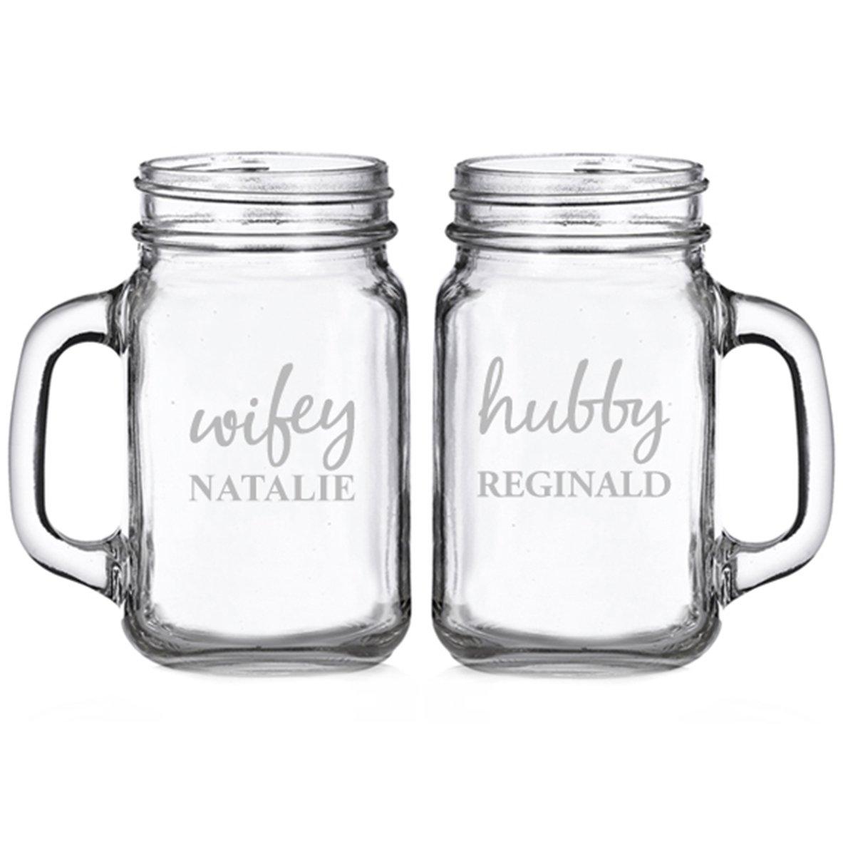 Wifey and Hubby Personalized Glass Mason Mugs (set of 2)