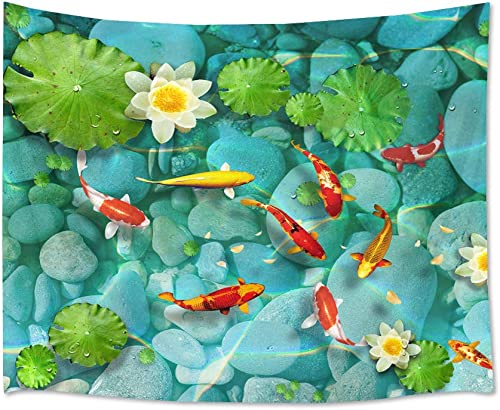 HVEST Fish Tapestry Japanese Carp in Lotus Pond Wall Hanging Flowers and Green Leaves Tapestries for Bedroom Living Room Dorm Party Decor,92.5Wx70.9H inches