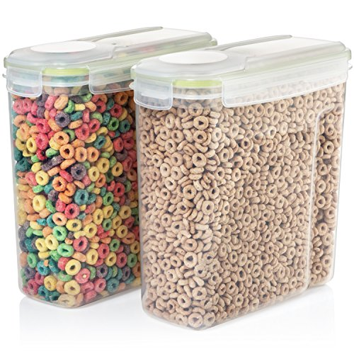 Seal & Stow Cereal Container Set - Large Plastic Food and Snack Kitchen Storage Containers with Lid - Small Dog Food Container - Airtight and BPA Free - Great for Kids Breakfast Dry Cereal (Vintage Dog Food Container)