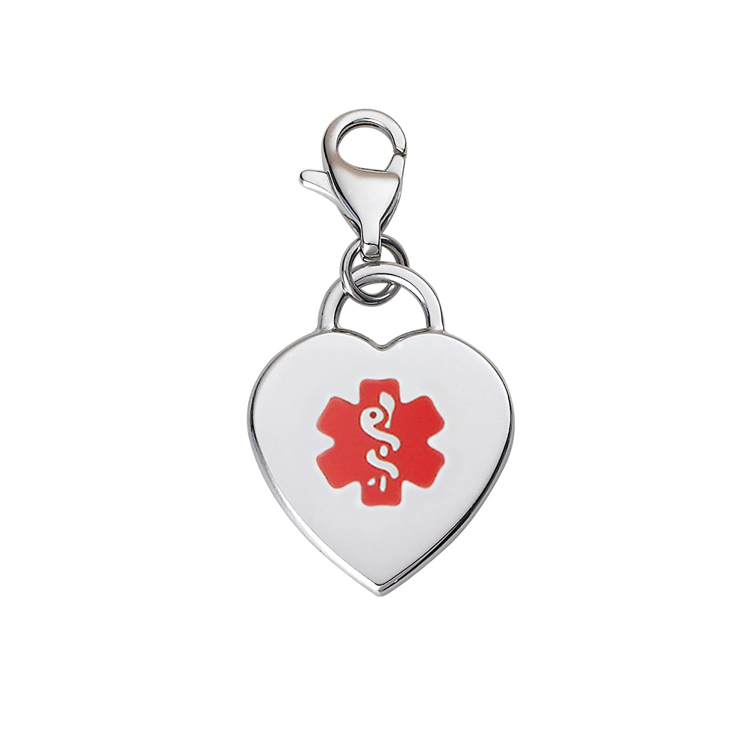 Divoti Custom Engraved Adorable Heart 316L Medical Alert Charm w/Lobster Clasp Divoti Inc. 5175GR