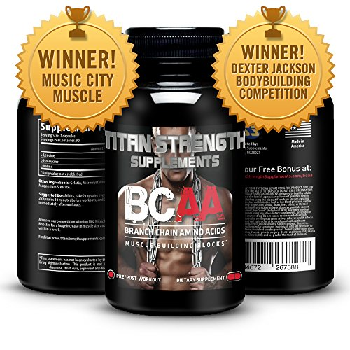 Top BCAA Branched Chain Amino Acids - 180 High Strength Capsules for Lean Muscle Growth, Rapid Muscle Recovery and Increased Fat Burn - Most potent ratio of L-Leucine, L-Isoleucine & L-Valine available - Made in The USA - Guaranteed results or your money back Bcaa 180 Capsules