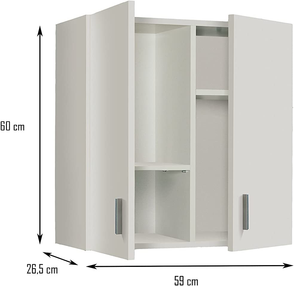 59X26,5X60 H cm Melamina 13Casa Gardenia B01 Mobile Multiuso Bianco