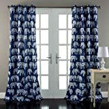 NA 2 Piece Navy White Animal Themed Window Curtain Set, 84 Inch Blue White Elephants Graphic Prints Panels Pair, Room Darkening Energy Efficient Trendy Window Treatment Drapes Rod Pocket, Polyester