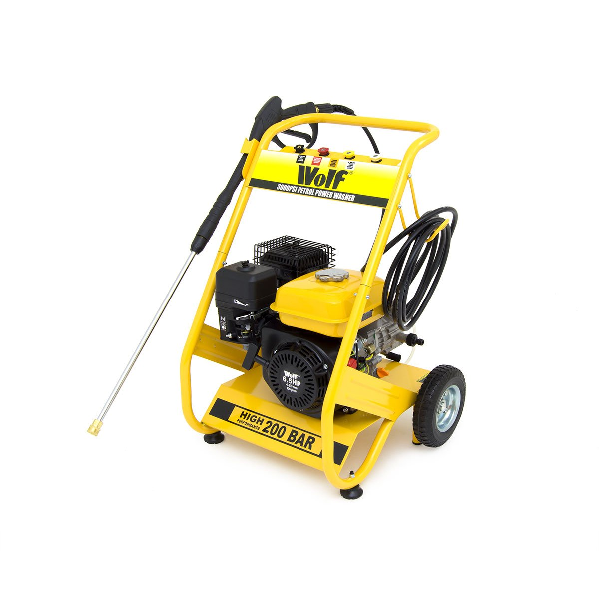 Wolf Petrol Pressure Washer 3000psi 200bar 65hp 4 Stroke Motor Wiring Diagram Free Download Driven Jet Power With Quick Fit Release Nozzles 2 Year Warranty Diy