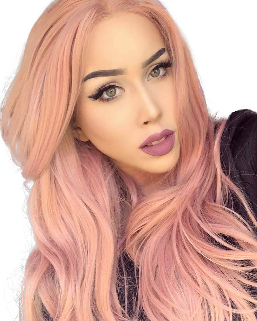 K'ryssma Fashion Orange Pink Lace Wig Mixed Color Glueless Long Natural Wavy Middle Part Synthetic Lace Front Wigs For Women Half Hand Tied Heat Resistant 22 Inch by K'ryssma