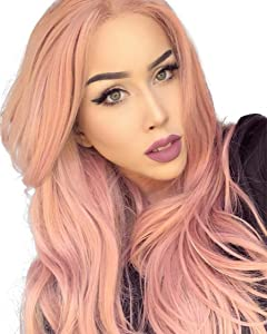 K'ryssma Fashion Orange Pink Lace Wig Mixed Color Glueless Long Natural Wavy Middle Part Synthetic Lace Front Wigs For Women Half Hand Tied Heat Resistant 22 Inch