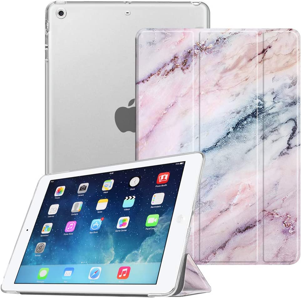 Fintie Case for iPad Mini 3/2 / 1 - Lightweight Smart Slim Shell Translucent Frosted Back Cover Protector Supports Auto Wake/Sleep for iPad Mini 1 / Mini 2 / Mini 3, Marble Pink