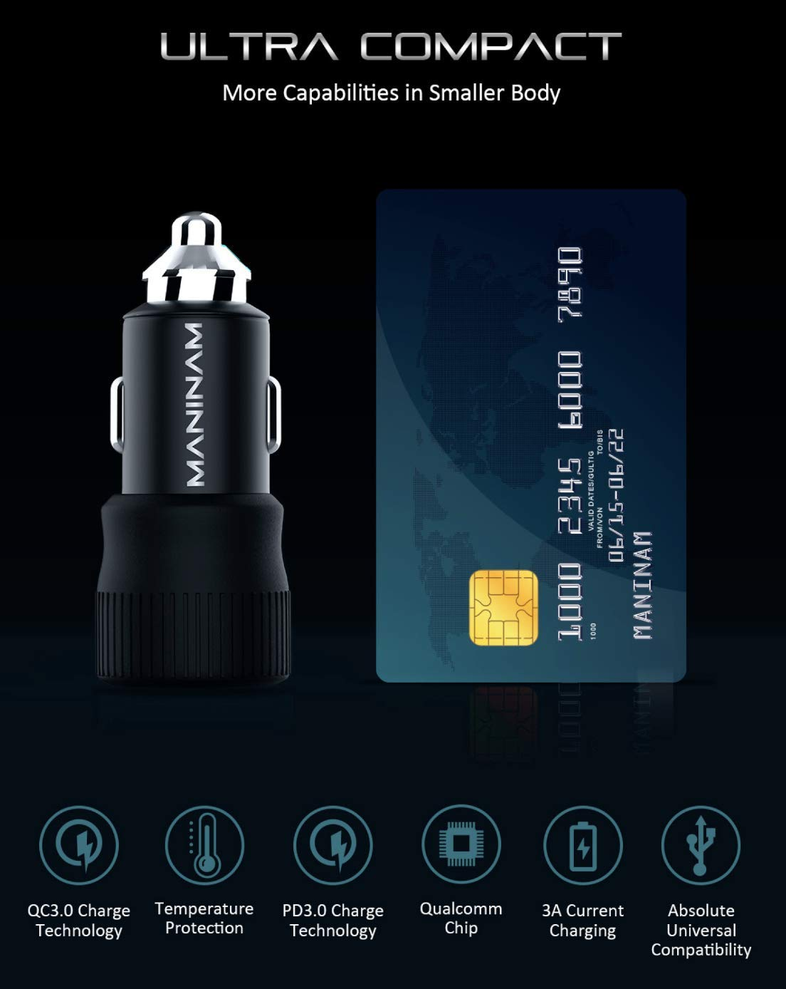 MANINAM Metal USB C Car Charger, 55W PPS 2020 PPS Latest Tech Adapter, 73W Turbo Full Fast Charge for Samsung S20 Note 10 Plus Type C Car Charger Any USB C Laptop Tablet Phone 45W PD MacBook