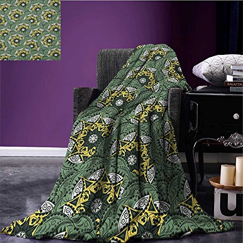 Jade Green Vintage (Mandala Patterned blanket Eastern Floral Motifs Pattern Bohemian Ornaments Vintage Artwork beach blanket Jade Green Dark Green Yellow size:59