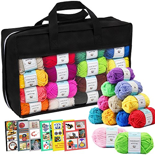40 Acrylic Yarn Skeins, 2000 Yards Craft Yarn with Reusable Canvas Bag Includes 6 E-books, 2 Crochet Hooks, 2 Weaving Needles, 4 Locking Stitch Markers for Crochet & Knitting  By Inscraft by Inscraft