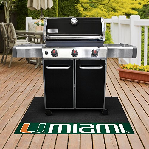 University Grill Mat - FANMATS NCAA University of Miami Hurricanes Vinyl Grill Mat