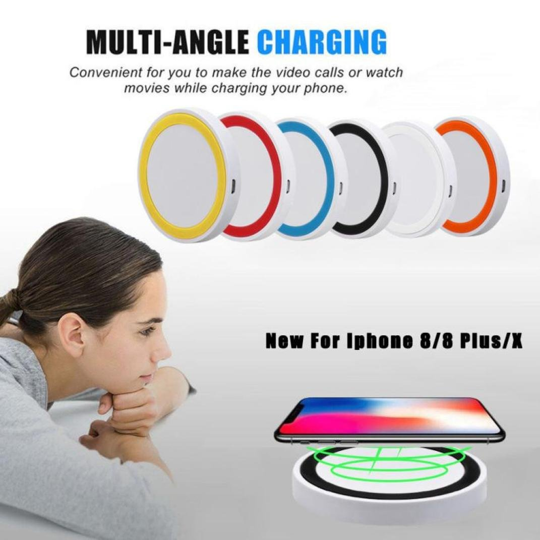 Compia Best Fun New Unique Multicolor Portable Qi Wireless Power Fast Charger Charging Pad For Iphone 8 / 8 Plus / X Toys Gift (red)