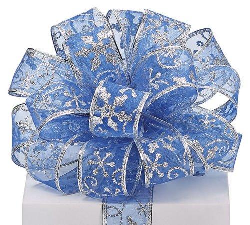 Ribbon Organizer, 5YDS Blue Silver Snowflake Swirls 1-1/2