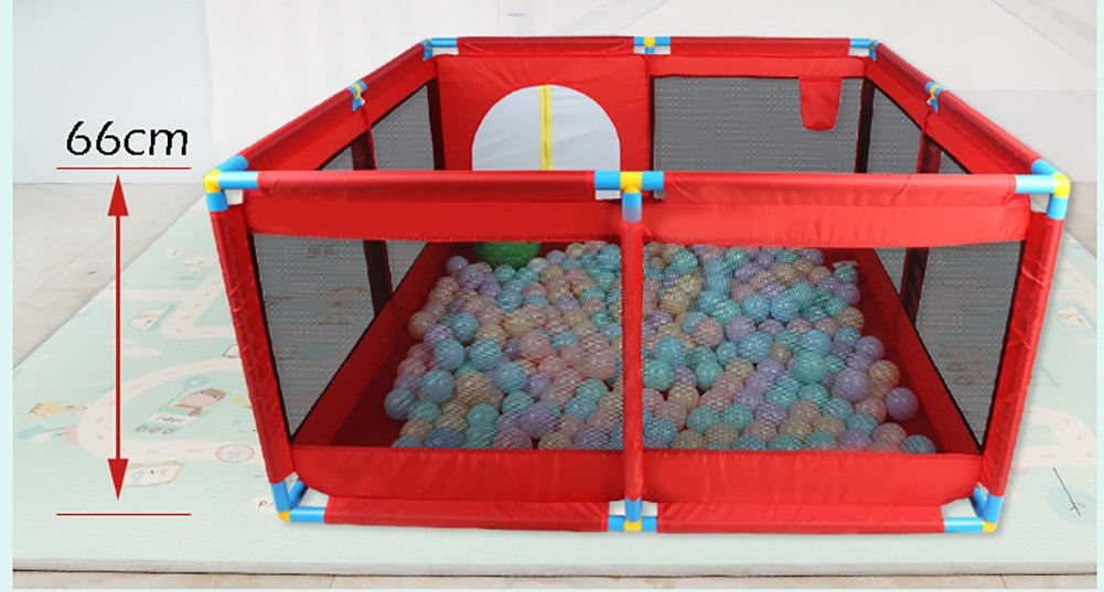 Extra Large Baby Playpen for Twins 128/×190/×66cm Red Oxford Cloth Children Travel Playpen with Floor Mat