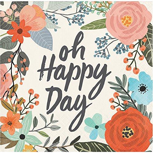 Elise 330008 Brush Strokes Pattern 3-Ply Beverage Paper Napkins, Happy Day