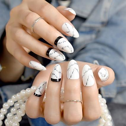 Juego de 24 uñas postizas de acrílico blanco de punta media para decoración de uñas,