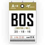 Boston, Massachusetts - BOS - Luggage Tag