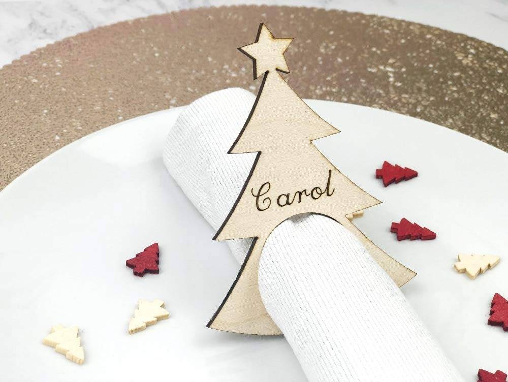 KathShop Set of Christmas Napkin Holders - Christmas Napkin Rings - Table Decoration - Personalised Decoration - Place Settings - Name Pl