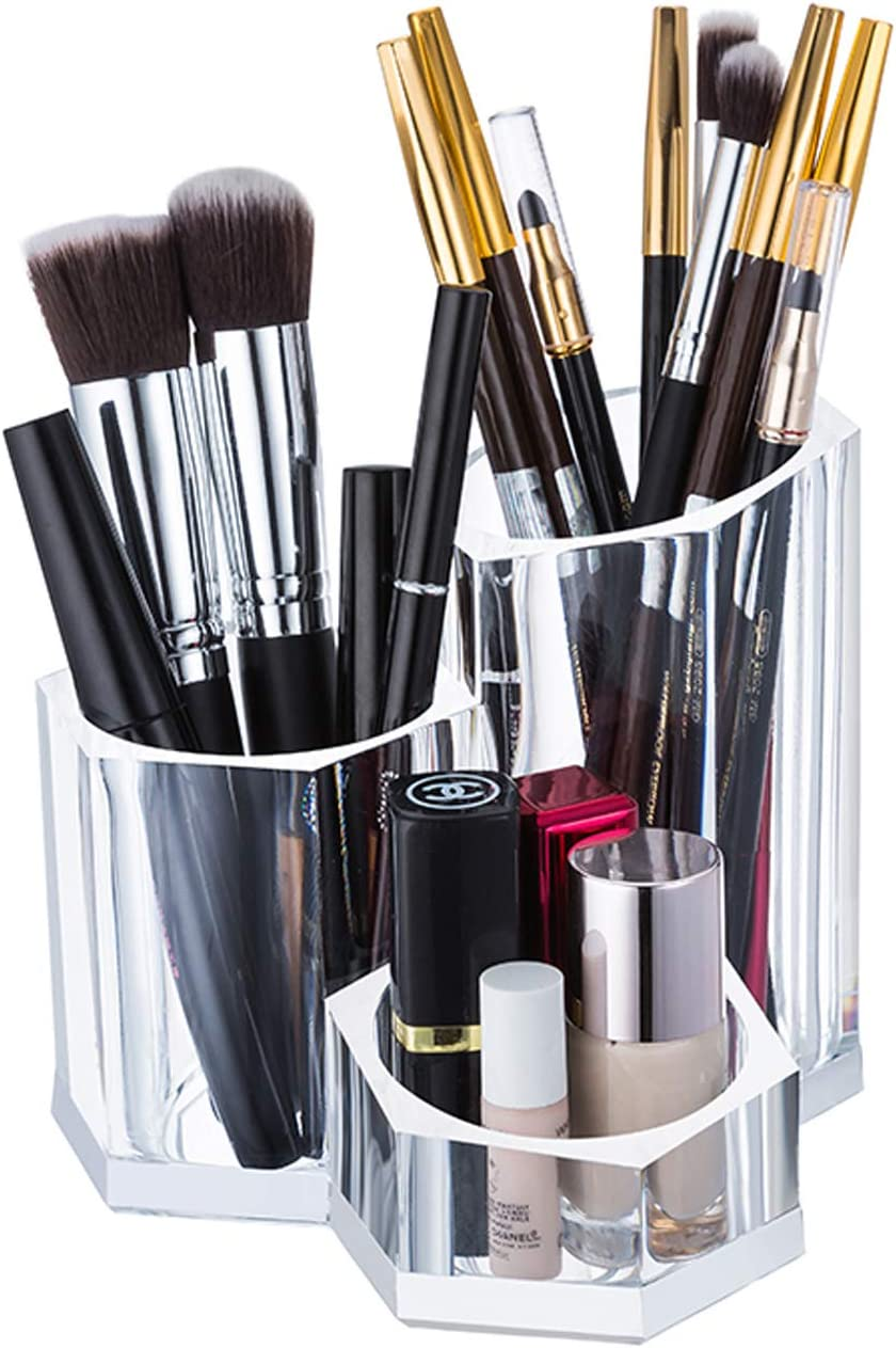 Sooyee Premium Acrylic Brush Holder Desk Organizer, Lipstick Organizer, Round, Clear,3 compartments can be Placed with 20-30 Cosmetic Brushes