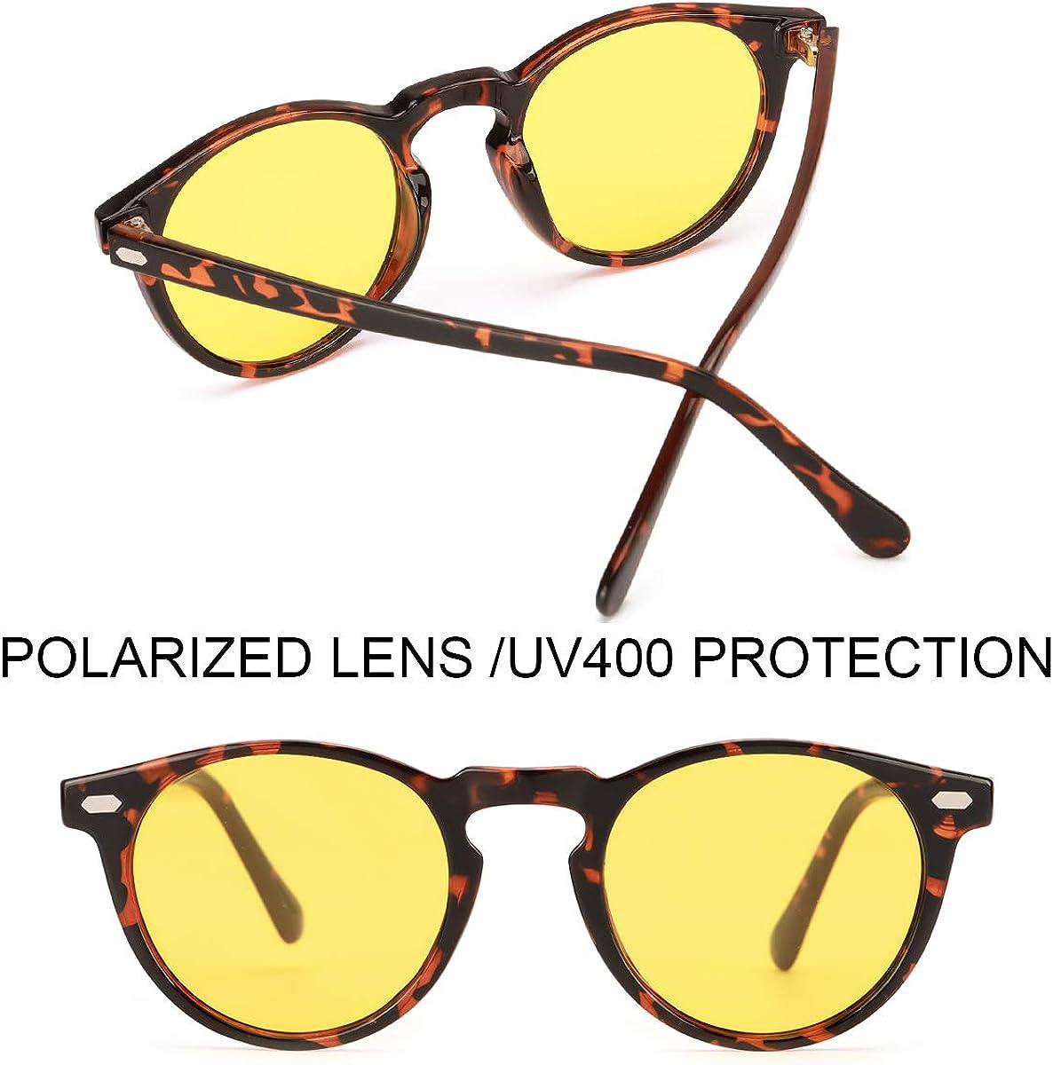 ELIVWR Occhiali da Guida Notturni per Uomo Donna Occhiali da Vista Rotondi ed Eleganti per la Visione Notturna Protezione UV al 100/%