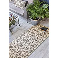 Custom Size Hallway Runner Rug, Slip Resistant, 26 inch Wide X Your Choice of Length, Scroll, Brown, 26 inch X 6 feet