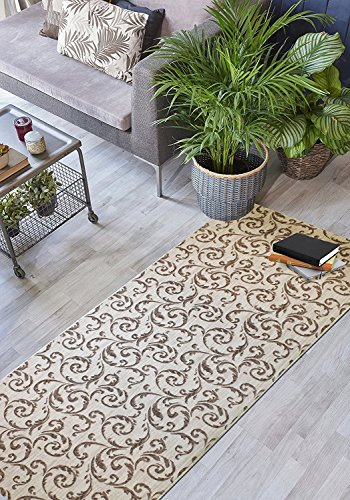 ORFA HOME Custom Size Hallway Runner Rug, Slip Resistant, 39 inch Wide X Your Choice of Length, Scroll, Brown, 39 inch X 18 feet