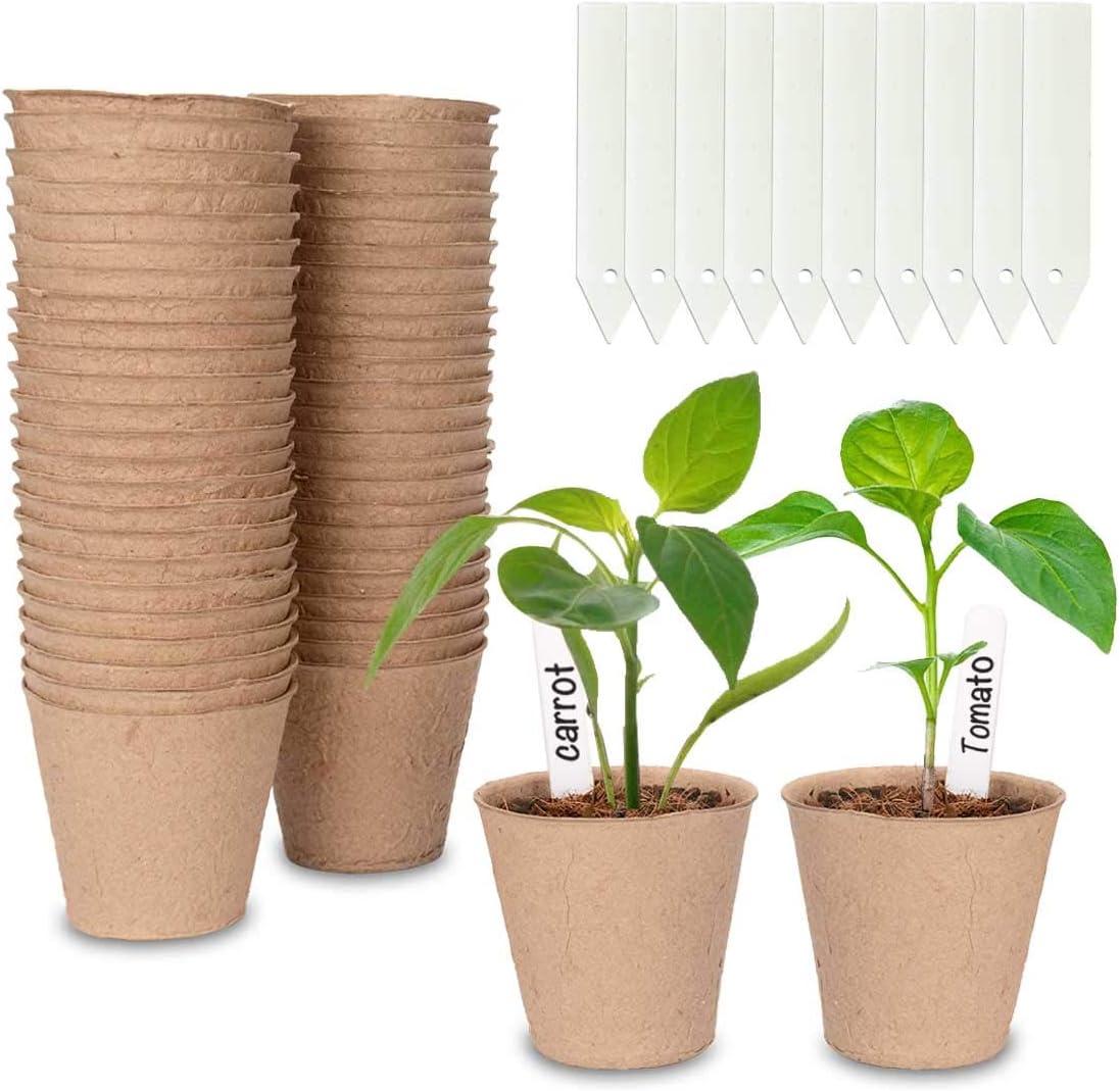 Cymax 50 Piezas Macetas de Turba Biodegradables, Macetas redondas de fibra de 8 cm con 50 etiquetas de plantas, plantas de hierbas biodegradables,flores,semillas de inicio,macetas de jard
