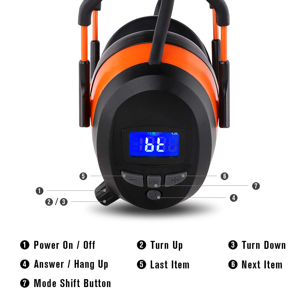 FM MP3 Bluetooth Radio Headphones Wireless Cancelling Headphones with 4GB SD Card Built-in Mic Electronic Noise Reduction Safety Ear Muffs Protection for Lawn Mower Work by WULFPOWERPRO by WULFPOWERPRO (Image #7)