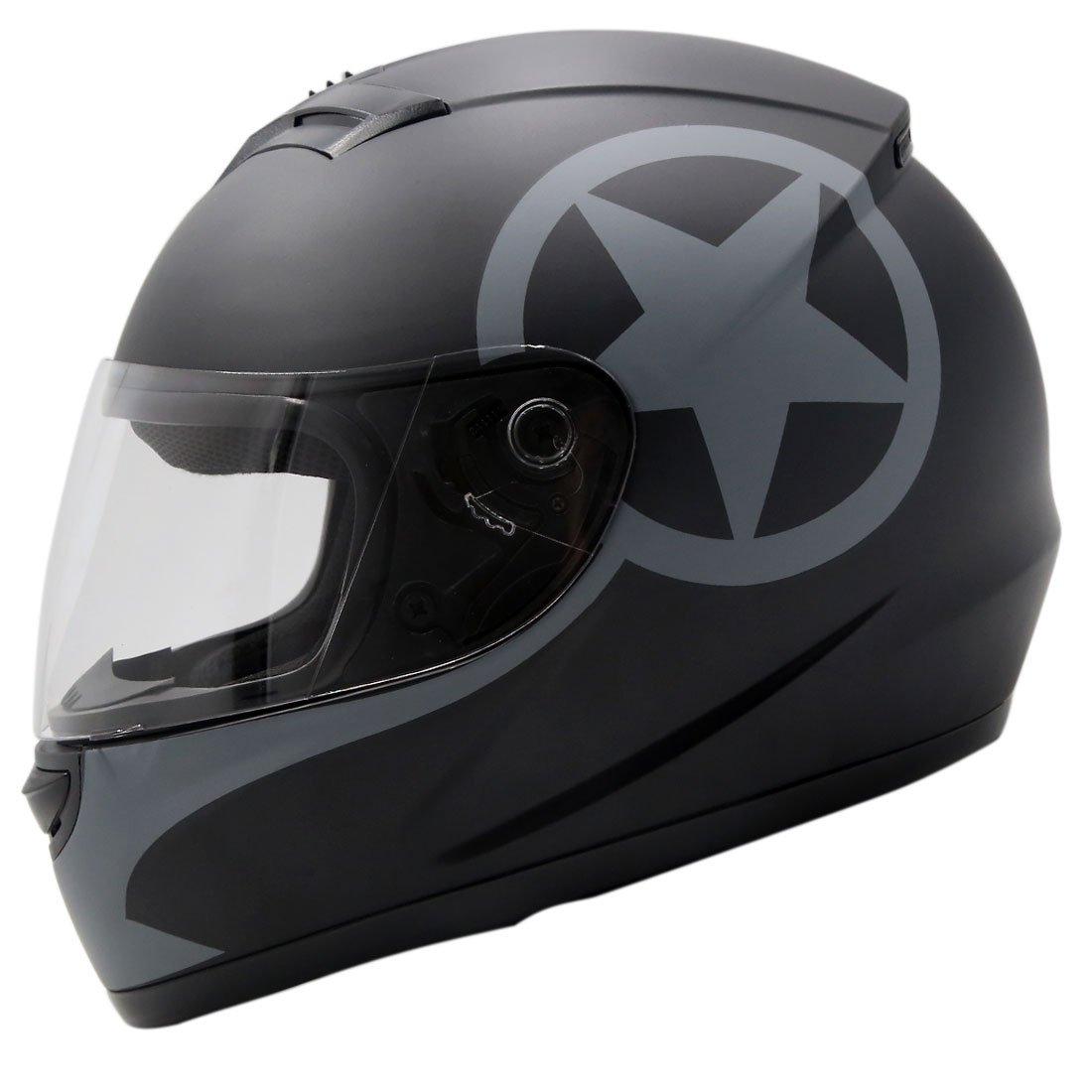 uxcell L Unisex-Adult Full Face Motorcycle Street Sport Bike DOT Helmet Matte Black