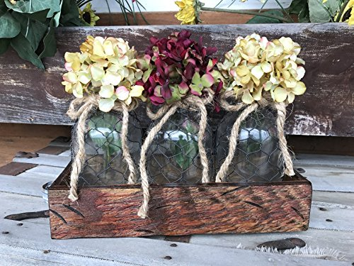 Table Centerpiece *3 Glass TONIC Jar Bottles with chicken wire in Distressed wood TRAY with rustic handles *River Rock Blue, Antique White, Red -Hydrangea Flowers or Daisies are optional *Pink Cream ()