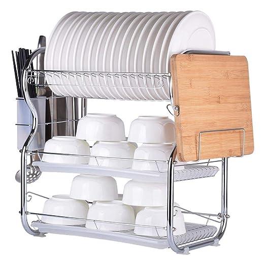 Soporte para platos para escurridor, tendedero de platos de acero inoxidable, cortador de cubiertos, platos, platos de cubiertos, con soporte para ...