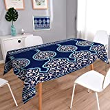 PRUNUSHOME Linen Square Tablecloth Arabic Floral Seamless Border Traditional Islamic Design Mosque decoration element. Washable Table cloth Dinner Kitchen Home Decor/50W x 72L Inch