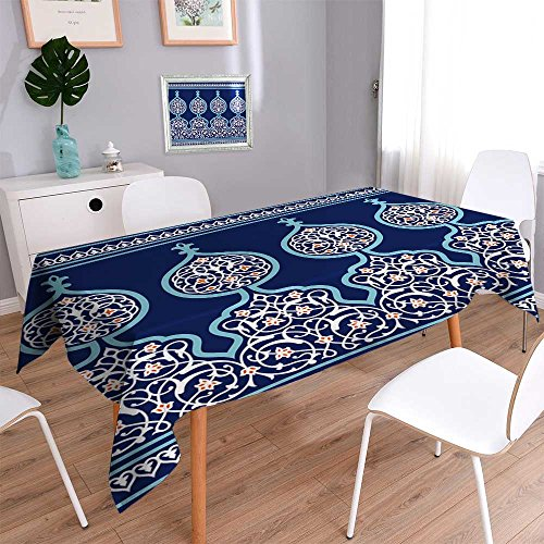 Philiphome Rectangular Polyester Arabic Floral Seamless Border Traditional Islamic Design Mosque Decoration Element. Linen Cotton Tablecloths for Kitchen Room 60''x104'' by Philiphome