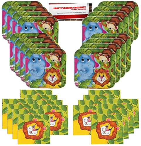 Jungle Animals Party Supplies Bundle Pack for 16 guests (Plus Party Planning Checklist by Mikes Super Store) by Jungle Animals Fun