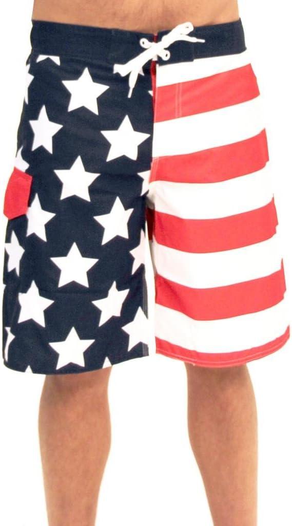 Pantalones cortos de natación para hombre con estrellas y rayas de la bandera americana de Estados Unidos: Amazon.es: Ropa y accesorios