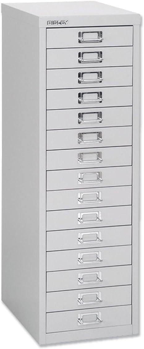 Bisley Steel Storage Cabinet 15-Drawer W279xD380xH860mm Chalk White Ref H3915NL-26