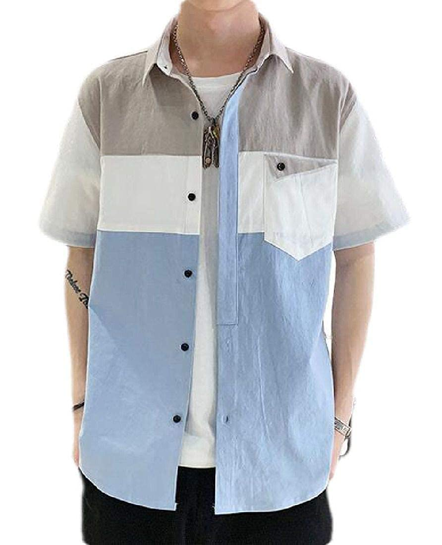 BU2H Men Button Front Utility Plus Size Short Sleeve Shirts with Pockets