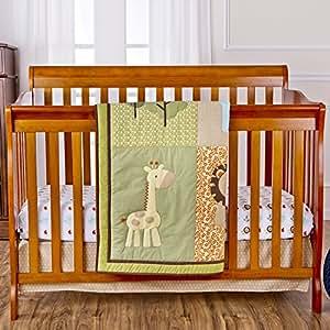 Dream On Me 3 Piece Crib Bedding Set, Safari Animals