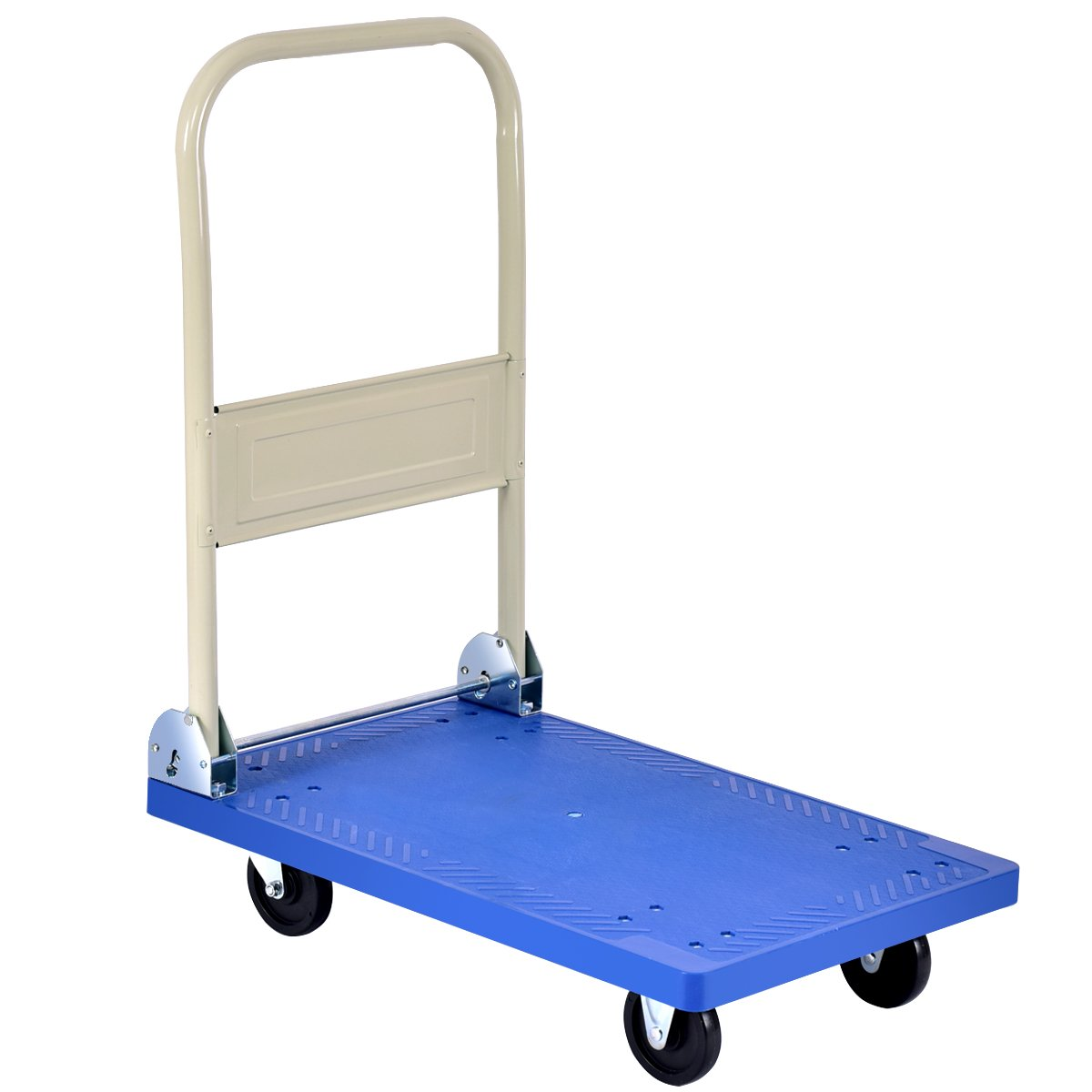 Goplus Folding Platform Cart 220LB Rolling Flatbed Cart Hand Platform Truck Push Dolly for Loading