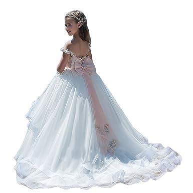 dressvip dressvip Prinzessin Weiß Lange Mädchen Festzug Kleider ...