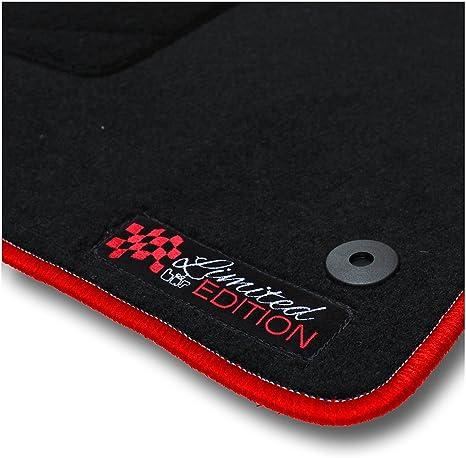 Bär Afc Mb02162 Limited Edition Auto Fußmatten Nadelvlies Schwarz Rand Kettelung Rot Stick Logo Rot Set 4 Teilig Passgenau Für Modell Siehe Details Auto